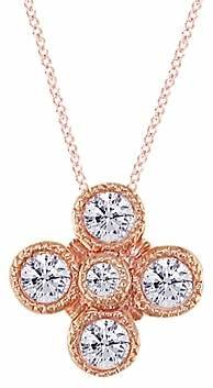 London Road 18ct Rose Gold Diamond Millgrain Pendant, Rose Gold