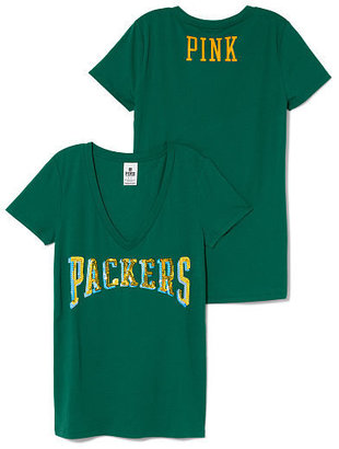 Victoria's Secret PINK Green Bay Packers Bling V-neck Tee