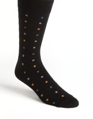 Black Brown 1826 Square Print Socks