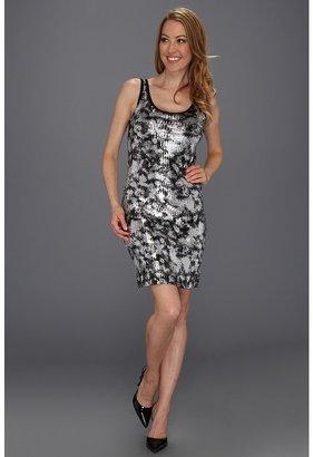 Karen Kane Silver Painted Sequin Tank Dress (Black/Silver) - Apparel