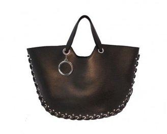 Roger Vivier excellent (EX Black Studded Calfskin Lace Up Tote Bag