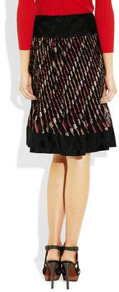 Anna Sui Pleated silk-blend jacquard skirt