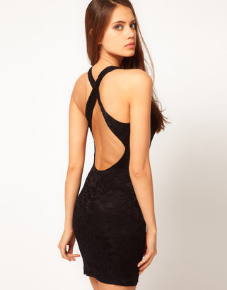 ASOS Lace Body-Conscious Dress with Cross Back Strap