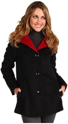 Ellen Tracy Angora Colorblocked Car Coat (Black/Ruby) - Apparel