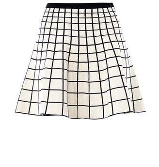 Ohne Titel Grid intarsia-knit skater skirt