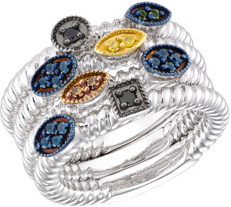 Ice.com 3/8 Carat Multi-Colored Diamond Sterling Silver Stackable Ring Set