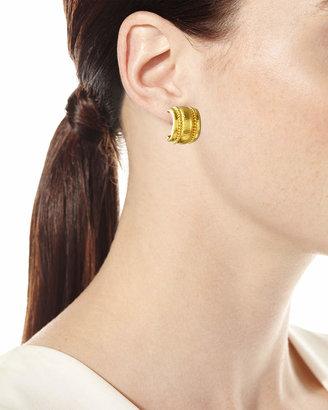 Elizabeth Locke Amalfi Granulated 19k Gold Huggie Earrings