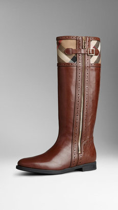 Burberry Brogue Detail House Check Riding Boots