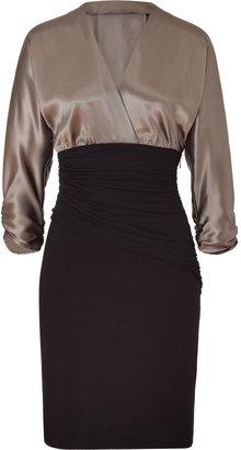Paule Ka Sepia/Black Draped Combo Dress