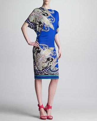 Etro Draped Paisley-Print Dress, Royal/Multi