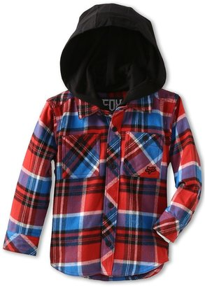 Fox Dane Flannel Hoodie (Little Kids) (Flame Red) - Apparel