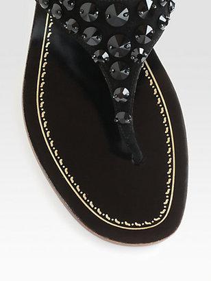 Prada Rhinestone-Encusted Suede Thong Sandals