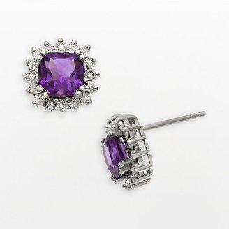 Reebok Sterling silver amethyst & diamond accent stud earrings