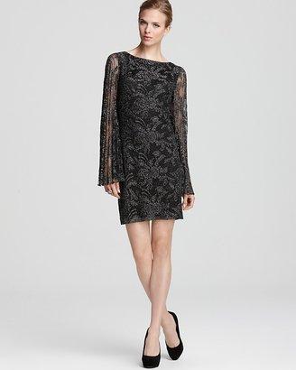 Laundry by Shelli Segal Lace Dress - Long Sleeve Metallic