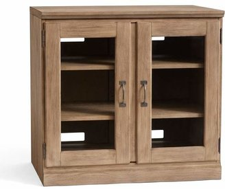 Pottery Barn Printer's Double Glass Door Cabinet, Tuscan Chestnut