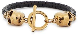 Alexander McQueen Skull Black Leather Bracelet
