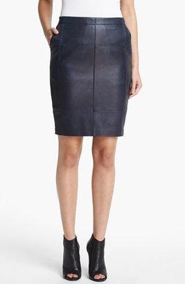Halston Leather & Ponte Knit Skirt