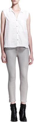 Helmut Lang HELMUT High-Gloss Cropped Zip Skinny Pants, Lace