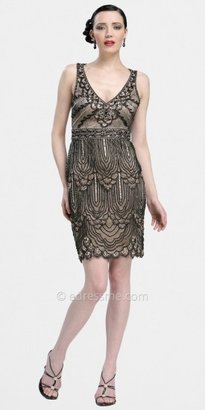 Sue Wong Black Nude Retro Sheath Dresses