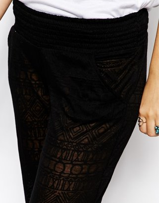 Lira Wide Leg Pants With Geo-Tribal Print