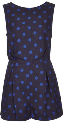 Topshop Spot Print Lace Back Playsuit