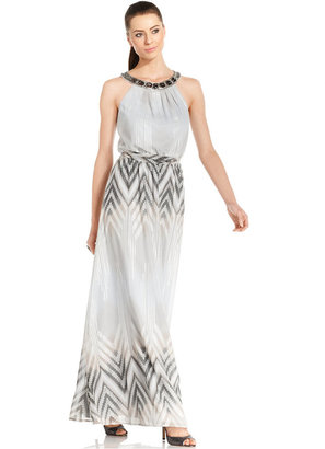 Vince Camuto Sleeveless Jewel-Neck Blouson Maxi Dress