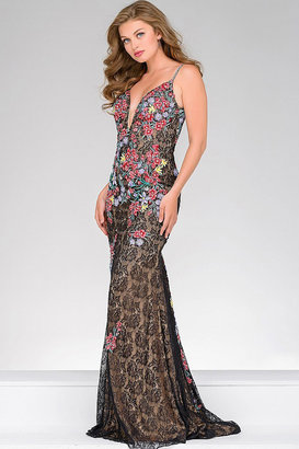 Jovani Floral Fitted Lace Dress 48893