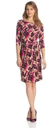 Anne Klein Women's Geo Plaid Faux Wrap Dress