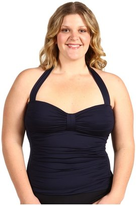 Tommy Bahama Plus Size Pearl Halter Tankini Top w/ Tummy Control (Midnight) - Apparel
