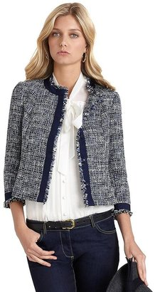 Brooks Brothers Wool Three-Quarter Sleeve Boucle Jacket