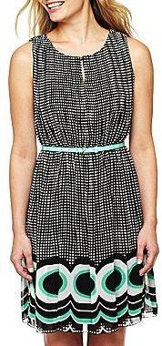 JCPenney Worthington® Border Print Pleat Dress - Petite