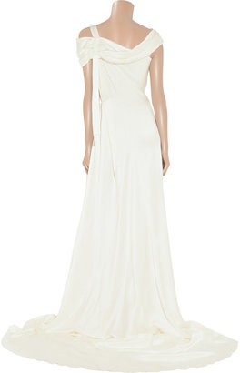 Alberta Ferretti Draped silk-satin gown