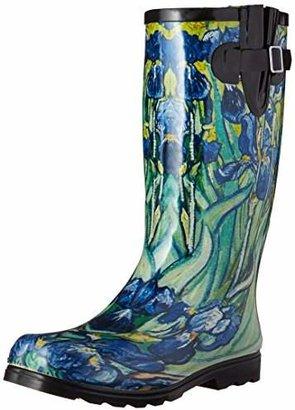 NOMAD Women's Puddles Rain Boot, Black/White Chevron, 8 M US