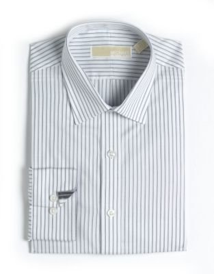 MICHAEL Michael Kors Regular-Fit Striped Cotton Dress Shirt