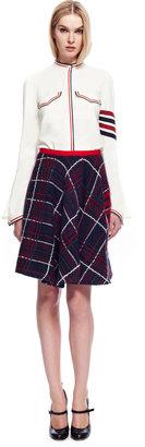 Thom Browne Flared Front Knit Tweed Skirt In Plaid Knit Tweed