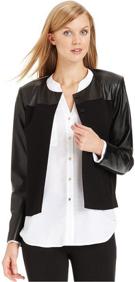 Calvin Klein Faux-Leather Collarless Blazer