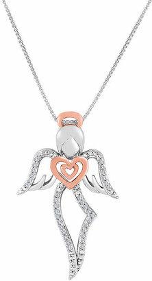 0b34a504f FINE JEWELRY ForeverMine 1/10 CT. T.W. Diamond Two-Tone Angel Pendant  Necklace