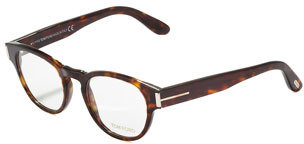 Tom Ford Unisex Soft Round Fashion Glasses, Dark Shiny Havana