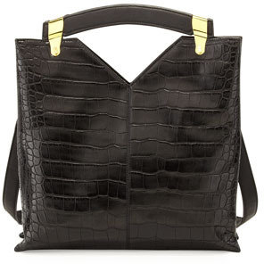 French Connection Buckle Up Crocodile-Embossed Tote Bag