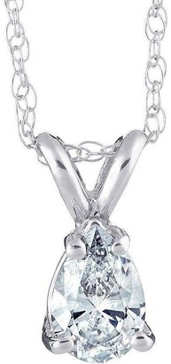Affinity Diamond Jewelry Affinity 1/4 cttw Pear Diamond Pendant w/ Chain, 14K Gold