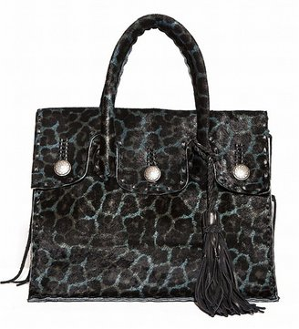 Simone Camille Calf Hair Leopard Tote Bag With Tassel In Teal