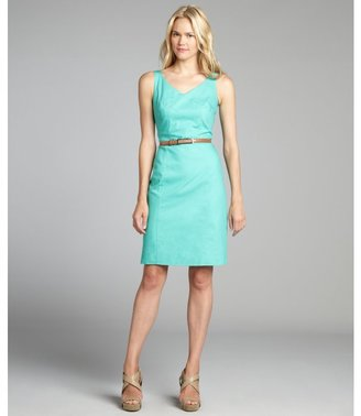 Tahari ASL aqua cotton blend v-neck sleeveless belted dress