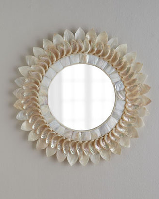 White Shell Floral Mirror