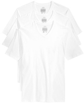 Alfani Men's Underwear, Big & Tall Tagless V Neck 3 Pack Undershirts