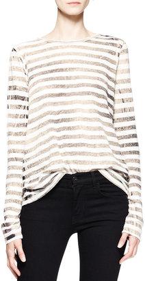 Proenza Schouler Long-Sleeve Faded Striped T-Shirt