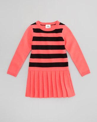 Milly Minis Striped Knit Sweater Dress, Fluorescent Melon/Black, Sizes 8-10