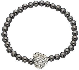 Very Me Crystal Heart Gunmetal Stretch Bead Bracelet