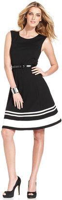 INC International Concepts Petite Dress, Sleeveless Striped-Hem Belted A-Line