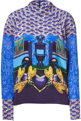 Mary Katrantzou Sky/Lapis/Honey Dragonfly Printed Silk Top