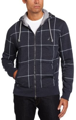 Nautica Men's Hooded Windowpane Fleece Sweatshirt